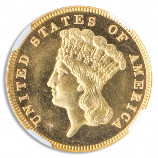 1885 $3 Indian Princess NGC PR65 CAC