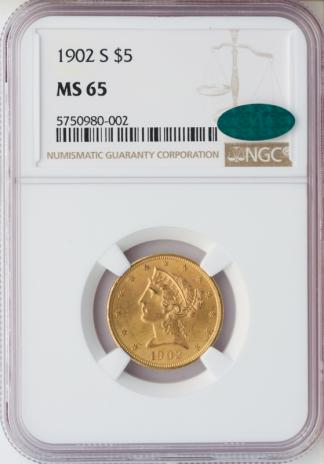 1902-S $5 Liberty NGC MS65 CAC