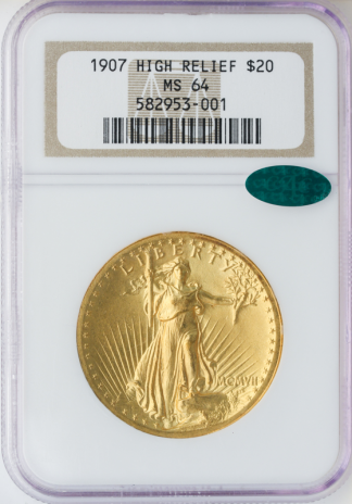 1907 $20 Saint Gaudens Wire Edge High Relief NGC MS64 CAC