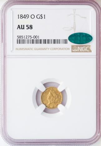 1849-O $1 Gold NGC AU58 CAC