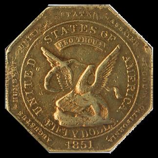 1851 $50 Humbert Reeded Edge NGC AU53