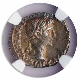 Roman Empire Augustus Denarius Lugdunum Mint Fan Flaw NGC AU Strike:4 Surface:5