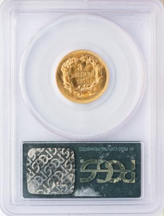 1878 $3 Indian Princess PCGS MS66 CAC