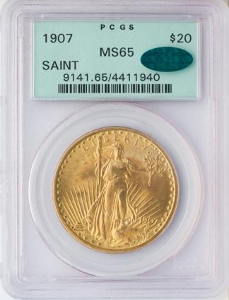 1907 No Motto $20 Saint Gaudens PCGS MS65 CAC