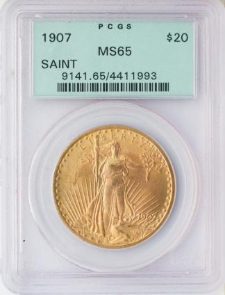 1907 $20 Saint Gaudens No Motto PCGS MS65