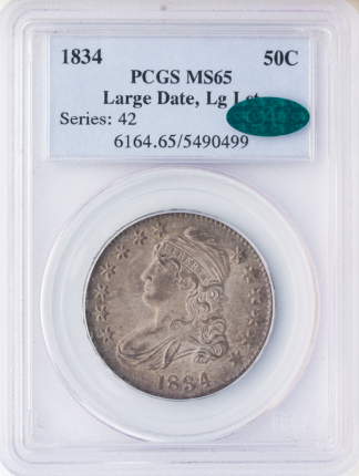 1834 Capped Bust Half Dollar PCGS MS65 CAC