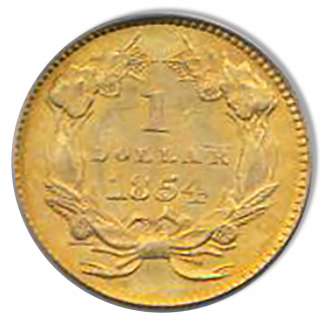 1854 Ty II Gold $1 PCGS MS65 CAC