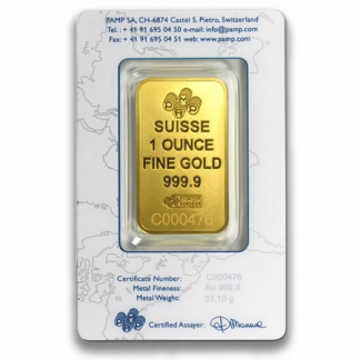 1 oz Gold Bar (New w/Assay, Types Vary)