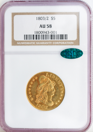 1803/2 $5 Capped Bust NGC AU58 CAC