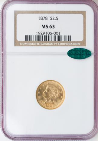 1878 $2 1/2 Liberty NGC MS63
