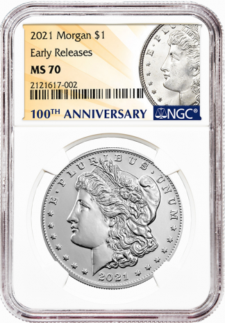 2021-P  Morgan Dollar NGC MS70 100th Anniversary Early Releases