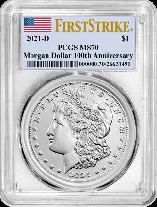 2021-D  Morgan Dollar PCGS MS70 100th Anniversary First Strike