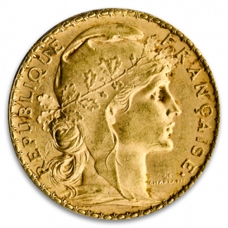 French Gold 20 Franc Rooster Coin (Circ, Dates Vary)