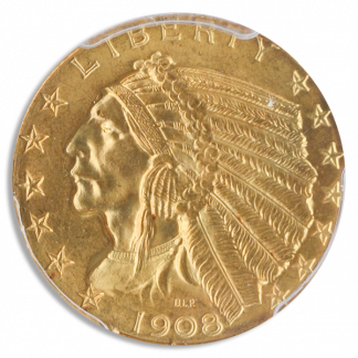 1908 $5 Indian PCGS MS65 CAC