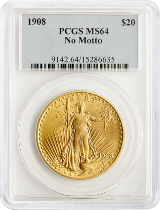 $20 Saint Gaudens No Motto MS64 Certified