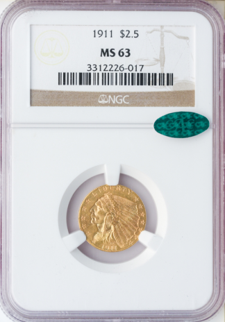 1911 $2.50 Indian NGC MS63 CAC
