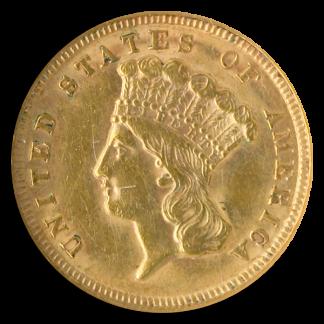 1854 $3 Indian Princess NGC AU55