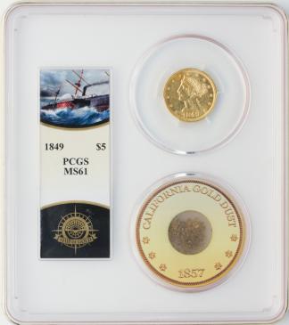 1849 $5 Liberty SSCA POD PCGS MS61