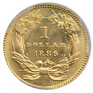 1886 $1 Gold Type III PCGS MS67 CAC