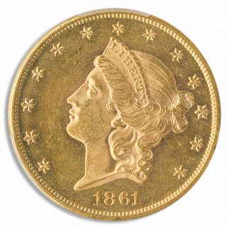 1861 $20 Liberty PCGS MS63 CAC