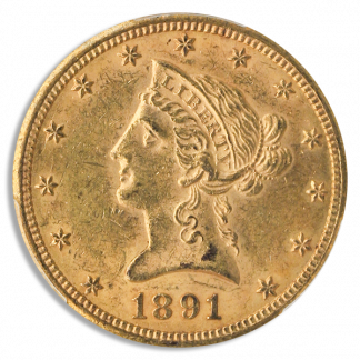 1891-CC $10 Liberty PCGS MS61 CAC