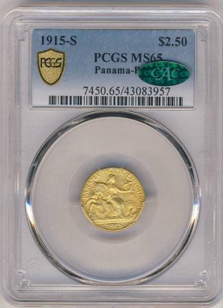 1915-S Panama Pacific $2 1/2 PCGS MS65 CAC