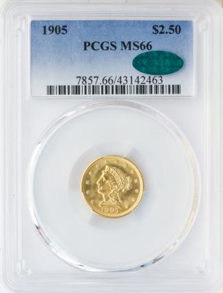 1905 $2 1/2 Liberty PCGS MS66 CAC