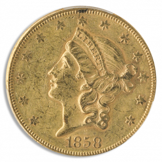 1858 $20 Liberty PCGS AU58 CAC