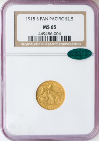 1915-S Panama Pacific $2 1/2 NGC MS65 CAC