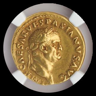 Roman Empire Vespasian NGC ChXF Str:5 Srf:3 7.38g