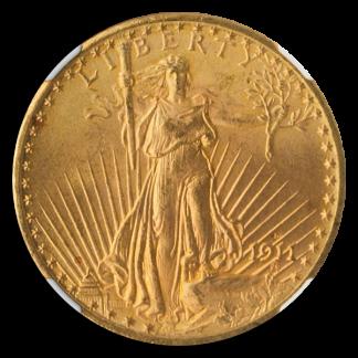 1911-D/D $20 Saint Gaudens NGC MS66 CAC