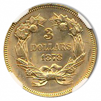 1878 $3 Gold NGC MS65 CAC